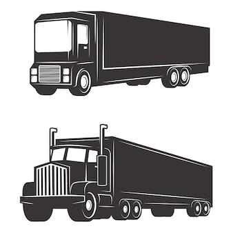 Комплект иллюстраций грузовика на белой предпосылке. элементы для логотипа, этикетки, эмблемы, знака, торговой марки.