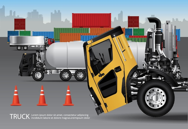 고립 된 컨테이너와화물 트럭 운송 세트