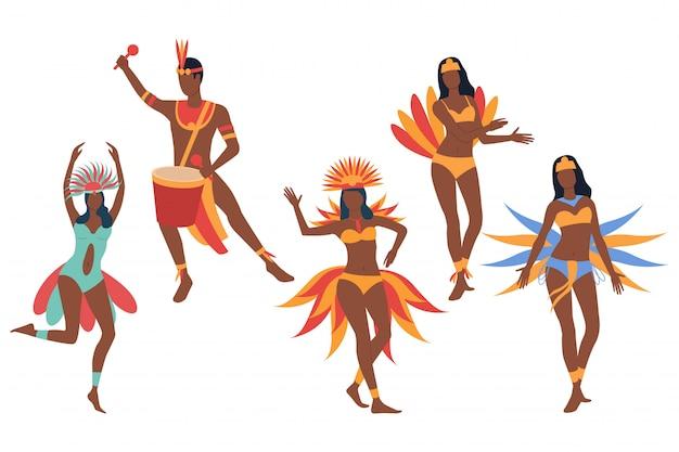 카니발 댄서의 집합입니다. 어두운 피부를 가진 남자와 여자
