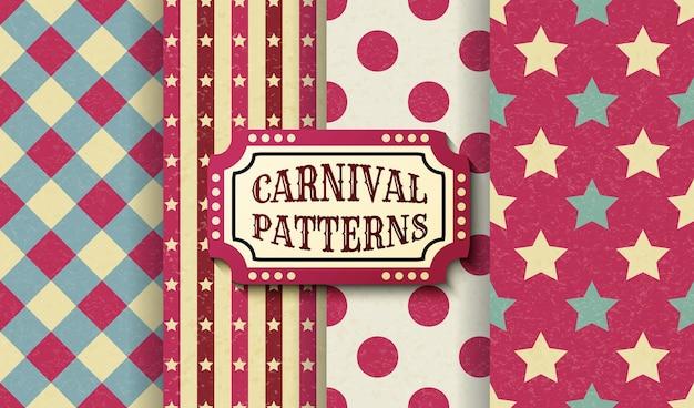 カーニバルレトロヴィンテージシームレスパターンのセットです。テクスチャード加工の昔ながらのサーカスの壁紙テンプレート。ベクトルテクスチャ背景タイルのコレクション。パーティー、誕生日、装飾的な要素のために。