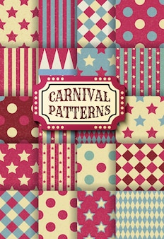 카니발 복고풍 빈티지 완벽 한 패턴의 집합입니다. 질감된 구식 서커스 벽지 템플릿입니다. 벡터 질감 배경 타일의 컬렉션입니다. 파티, 생일, 장식 요소.