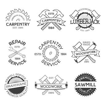 大工、修理、木こり、製材所、白い背景で隔離の木工品ラベルのセット。スタンプ、バナー、デザイン要素。木工作業およびラベルテンプレートの製造。図