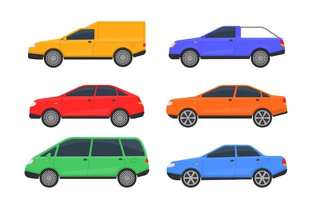 Набор автомобилей разных цветов, изолированные на белом фоне