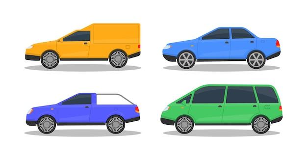 白で隔離されるさまざまな色の車のセット