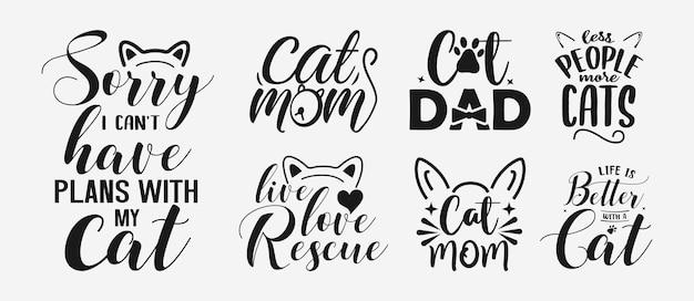グリーティングカードのtシャツなどの看板のペットの猫の引用符をレタリングするカートのセット
