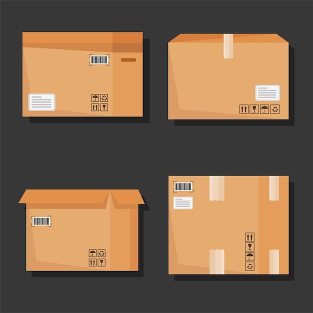 Набор иконок картонных коробок