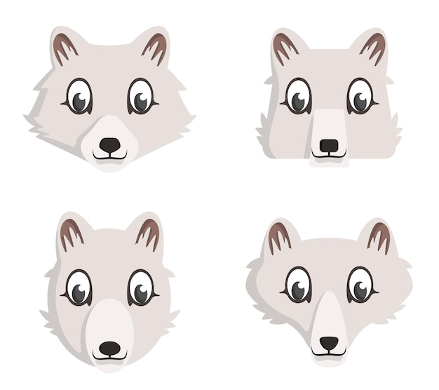 만화 북극 여우의 집합입니다. 동물 머리의 다른 모양.