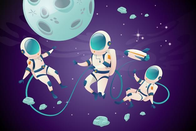 オープンスペースでの天文学者の漫画のキャラクターのセット