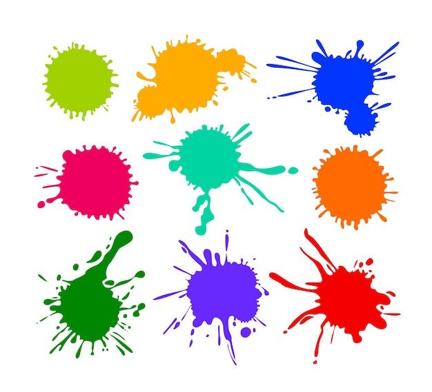 Набор мультяшных пятен и брызг, разноцветных значков капли, изолированных на белом фоне. иллюстрации шаржа