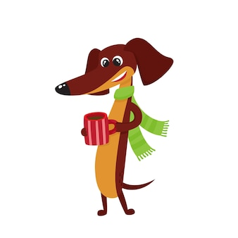 漫画の茶色の面白いダックスフント、熱いお茶、コーヒー、スカーフのカップと犬のキャラクターのセット