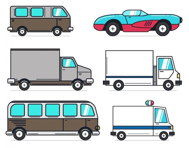 白い背景の上の漫画車イラストのセットです。アニメーション、モーション、インフォグラフィックに最適です。ロゴ、ラベル、エンブレム、記号の要素。図