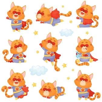 スーパーヒーローの衣装を着た漫画の猫のセットは、飛ぶ、ジャンプ、眠る