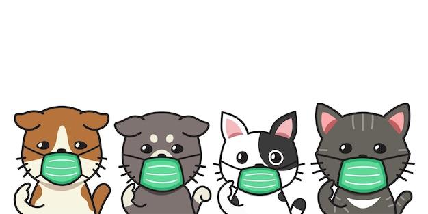 Набор мультяшных кошек в защитных масках для дизайна.