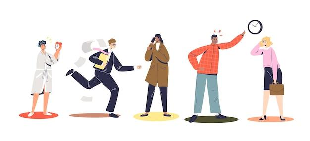 遅れている、急いでいる、または遅れて叱る漫画のキャラクターのセット。家にいる遅いビジネスマン、走っている、オフィスで非難している、または待っている。フラットベクトルイラスト