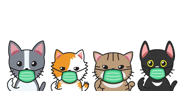 デザインの保護フェイスマスクを身に着けている漫画のキャラクターのかわいい猫のセットです。