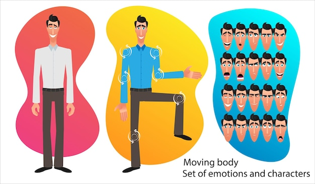 만화 캐릭터 식의 집합입니다. 감정적 인 얼굴입니다. 감정의 변종. 평면 스타일 벡터 일러스트 레이 션 추상적 인 배경에 고립입니다. 사업가는 아이디어를 제시합니다. 애니메이션을 위한 움직이는 몸체.