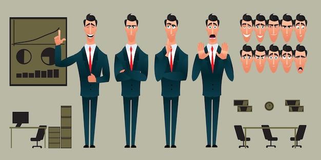 만화 캐릭터 식의 집합입니다. 감정적 인 얼굴입니다. 감정의 변종. 평면 스타일 벡터 일러스트 레이 션 사무실 배경에 고립입니다. 사업가는 아이디어를 제시합니다.