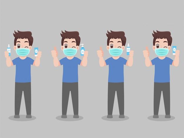 漫画のキャラクターの男性の顔マスクショーを着用し、ウイルスを防ぐためにアルコールジェルを使用して手をきれいに