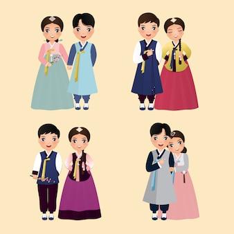 漫画のキャラクターのセット韓国の新郎新婦の伝統的な韓服のかわいいカップル。結婚式の招待カード。