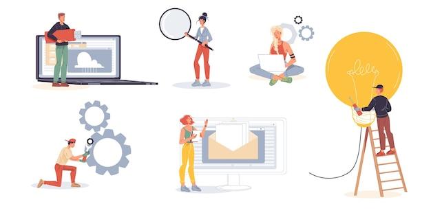 Набор персонажей мультфильмов офисных работников, занятых сотрудников, фрилансеров, занимающихся бизнесом и различных вещей дома или в офисе на рабочем месте.