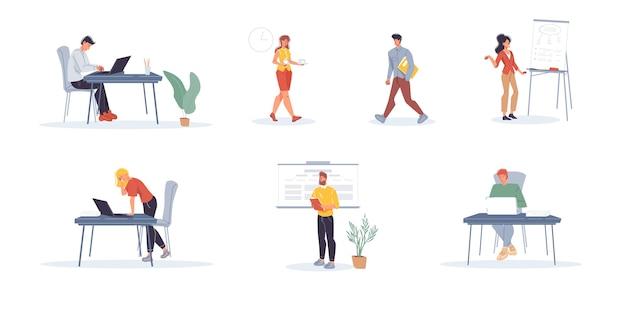 Набор мультипликационных персонажей офисных работников, занятых сотрудников, фрилансеров