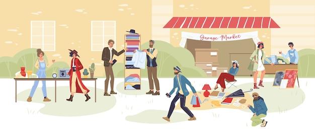 漫画のキャラクターの屋外ショッピングのセット-さまざまなポーズ、感情や商品、ガレージセールのコンセプト