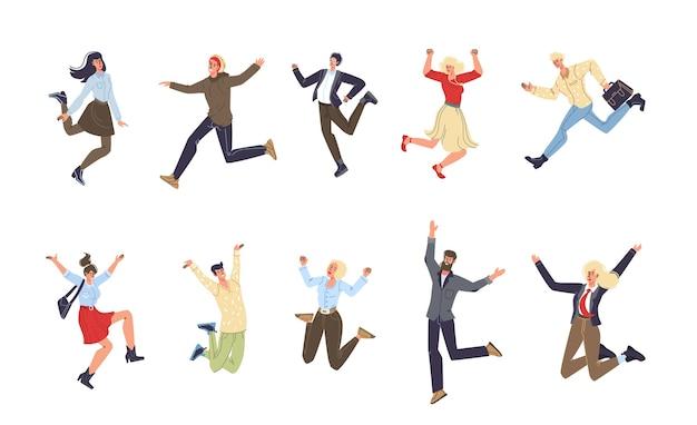 幸せな気分の人々の漫画のキャラクターのセット-さまざまなポーズ、感情、社会的コミュニケーションの概念