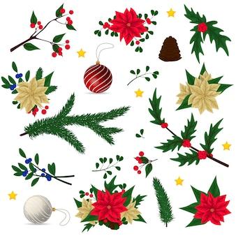 漫画のクリスマスの装飾のセット
