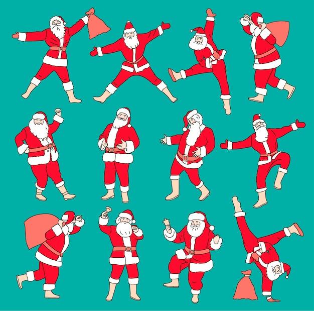 색상 배경에 고립 된 만화 크리스마스 삽화의 집합입니다. 재미있는 행복 산타 클로스 캐릭터 선물, 선물 가방, 춤.