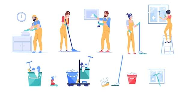 職場での清掃会社の従業員キャラクターの漫画のセット。