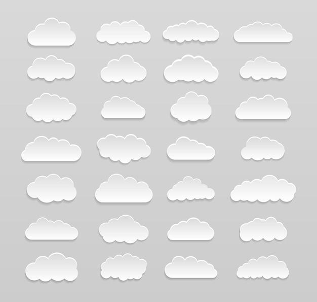 고립 된 만화 구름 디자인의 세트