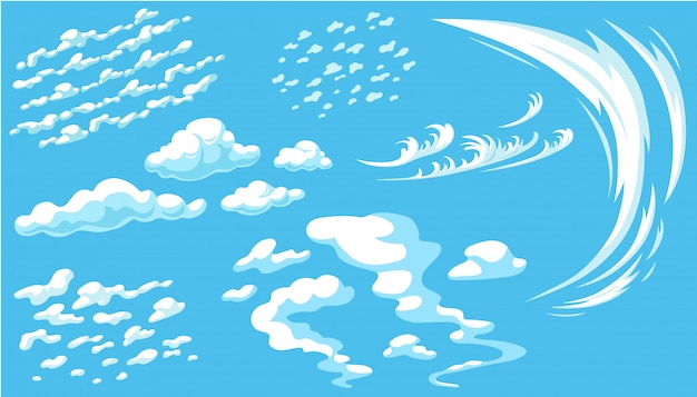 파란 파노라마 하늘에 만화 구름의 집합입니다.