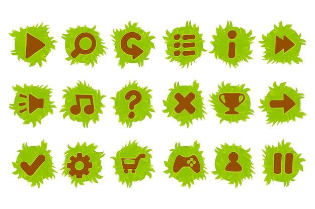 Набор мультяшных цветных кнопок травы и земли для игры. изолированные иконки для графического интерфейса.