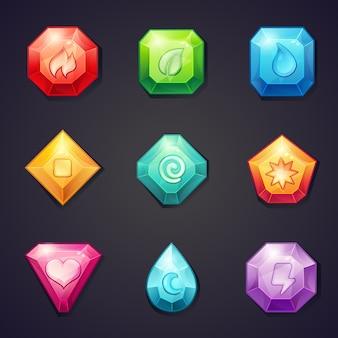 ゲームで使用するためのさまざまな記号要素を持つ漫画色の石のセット、3列