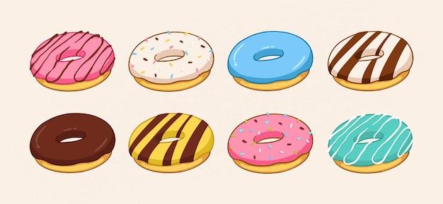흰색 배경에 고립 된 만화 다채로운 도넛 세트 측면보기 도넛 컬렉션