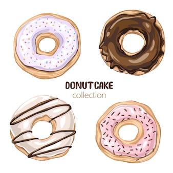 Набор мультфильм красочные пончики на белом фоне. вид сверху коллекция пончиков в глазури для оформления меню, оформления кафе, доставки коробки. иллюстрация в плоском стиле