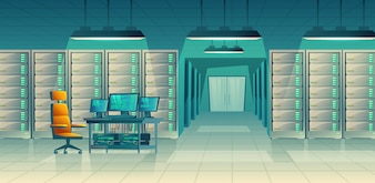 Set of cartoon control room with server racks, table. Database, data center for hosting