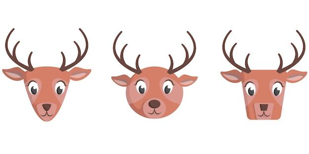 만화 사슴의 집합입니다. 동물 얼굴의 다른 모양.