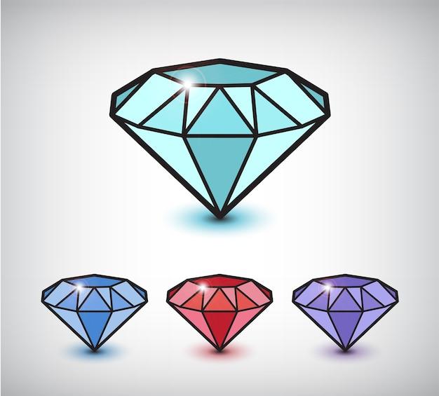 灰色で隔離の漫画のダイヤモンドのセット