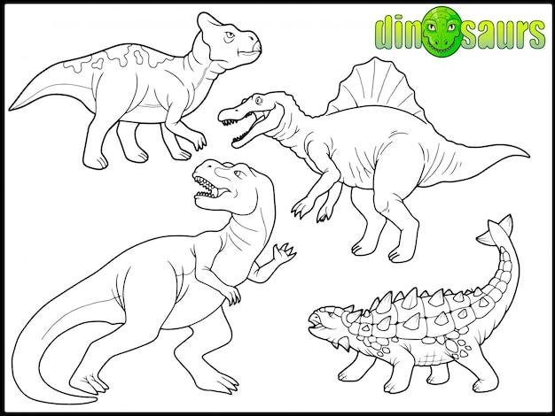 漫画の恐竜のセット