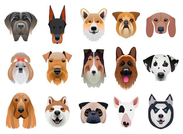 Набор мультяшных лиц собаки