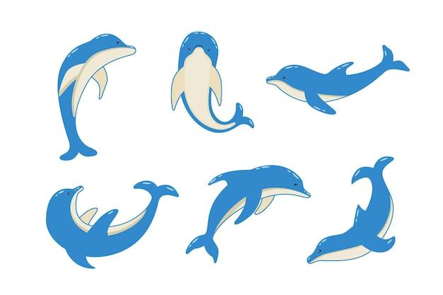 さまざまなポーズで漫画のイルカのセット、海洋動物のベクトルイラスト。塗られたイルカが泳ぎます。