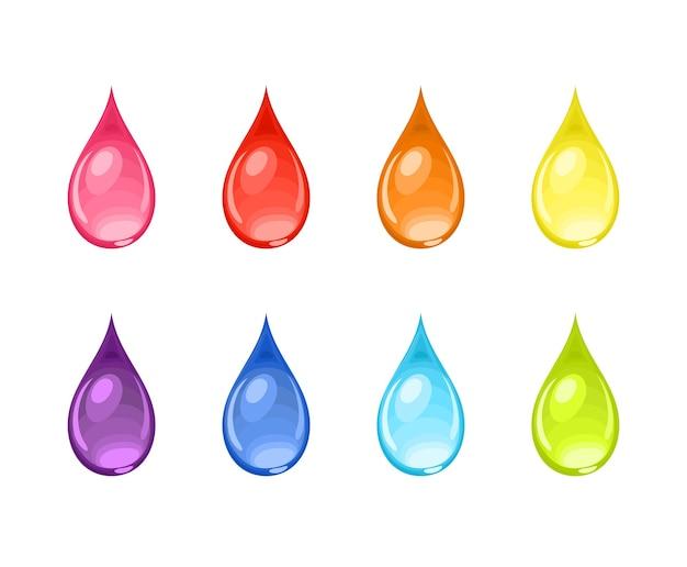 Набор мультяшных капель разных цветов