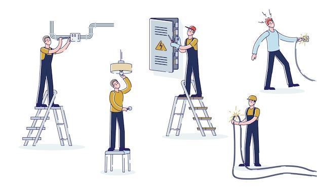 고전압 전기 장치 및 케이블로 작업하는 만화 전기 기사 및 엔지니어 세트