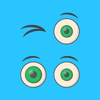 Набор мультяшных глаз вектор значок иллюстрации. плоский значок смайлика глаза человека emoji