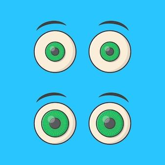 Набор мультяшных глаз вектор значок иллюстрации. плоский значок человеческого глаза