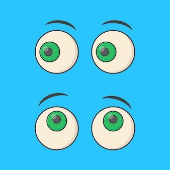 Набор мультяшных глаз вектор значок иллюстрации. плоский значок смайлика взгляда emoji глаз