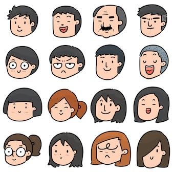 만화 얼굴 세트