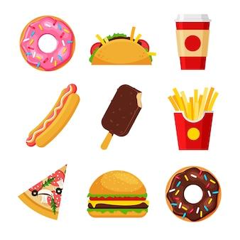 漫画のファーストフードのセットです。フライドポテト、ホットドッグ、ピザ、タコス、ハンバーガー、ドーナツ、アイスクリーム、ソーダ。
