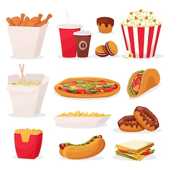 Набор иконок быстрого питания мультфильм на белом фоне